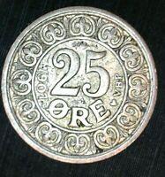 DENMARK  25 ORE 1907 Nice  SILVER COIN 103-03