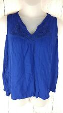 Womens Plus Size 3X Tank Top Blue Yoke Lace Floral Crochet Boho Sleeveless V