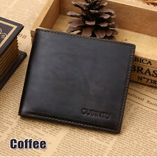 Genuine Leather Mens Purse Bifold Credit Card Wallet RFID Blocking Anti Scan