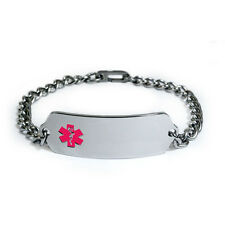 Medical Alert ID Bracelet with Pink enamel emblem. Free medical Emergency Card!