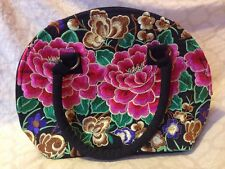 "Black Half Circle Purse With Flower Stitching Colorful 4"" By 9"" By 8.5"" (83)"