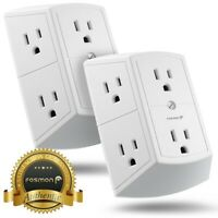 Fosmon x2 [ETL Listed] 3 Sided Grounded Indoor Wall Tap Adapter 6 Outlet AC Plug