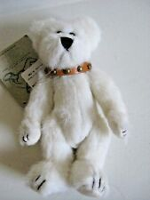 """6"""" Boyds Investment Bear Caledonia White Bear with Leather Collar Jointed Nwt"""