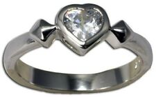 Sterling Silver 925 High Polish Clear CZ Heart Rhodium Pl Ring Size 8 US P AU
