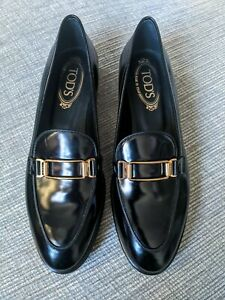 Tod's Black Gomma Classico Black Polished Leather Gold Buckle Loafers 38.5A 5.5