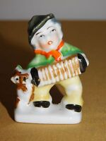 """VINTAGE 2 1/2"""" HIGH CERAMIC  OCCUPIED JAPAN SINGING ACCORDIAN PLAYER WITH PUPPY"""