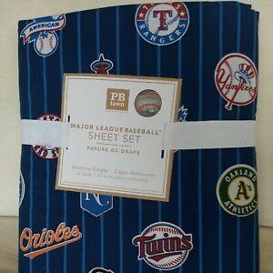 Pottery Barn PB Teen Major League Baseball Sheet Set Twin XL Brand New American