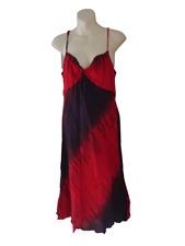 M&S Rojo/Púrpura Color Tie Dye Efecto Vestido Talla 16 Damas Vestido Vacaciones De Verano