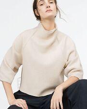 Zara Woman Crop pullover con collo alla coreana M UNI S M L ECRU BEIGE cropped High Neck