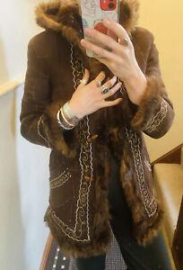 Vintage Afghan Coat Hood Embroidered Size 8-10 1970 Penny Lane