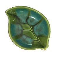 Vintage Leaf Pottery Bowl Dish Green Blue Brown MCM Signed 601-A U.S.A.
