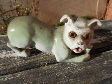 Rare sujet statuette chien avec son Os en céramique XIXe yeux en verre