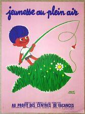 """HERVé MORVAN ancienne affichette (années 50-60) originale """"JEUNESSE EN PLEIN AIR"""