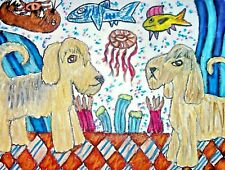 Otterhound Art Print 5x7 Dog Collectible Artist Ksams Dogs at the Aquarium