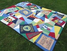 Pottery Barn Kids Quilt Twin Blue Boys Sports 68 x 86 Rugby Thick Blanket Throw