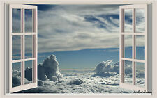 Sky & Clouds Window View Repositionable Color Wall Sticker Wall Mural 3 Feet