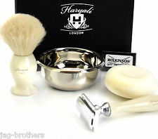 IVORY DOUBLE EDGE RAZOR + WILKINSON BADGER BRUSH STAINLESS STEEL BOWL WITH SOAP