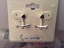 $35 Lucky Brand Silver Tone Beaded Stud Jacket Earrings  107