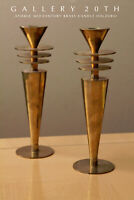 SAUCERS! VTG MID CENTURY ATOMIC MODERN BRASS CANDLE HOLDERS! JETSONS SPACE AGE!