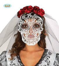 Halloween Bride Skull Face Mask With Veil And Rose Headband