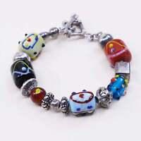 "6.5"", vtg Silpada Sterling 925 Silver Lampwork Art Glass Bead Bracelet B0871"