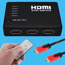 Full HD 1 In 4 Out Verteiler Splitter 5 Port Switch für 3D HDTV+ HDMI Kabel