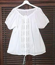 1X White Crochet Eyelet Lace Cotton Peasant Blouse Shirt Boho Top 20 22 24 2X