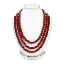 Natural Red Onyx Gemstone Handmade 3 lines PARTY WEAR Necklace free shipping
