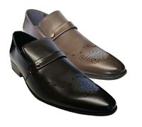 MENS LEATHER LOOK SHOES SLIP ON ITALIAN SMART FORMAL WEDDING SHOES SIZE UK