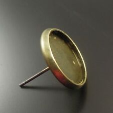 50pcs Antique Bronze Brass Round Earring Stud Cameo Base Tray Finding 15*14*14mm