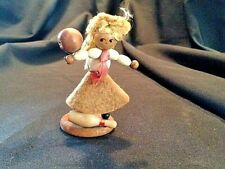 "Vintage Wooden 3"" Girl Bowler Blonde Bosling Pin & Ball Hand Made"