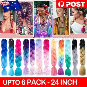 Colored Crochet Hair Extensions Kanekalon Hair Synthetic Braids Jumbo Braiding