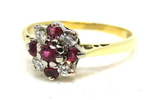 18ct Yellow Gold Vintage Ruby and Diamond Cluster Ring  SIZE K
