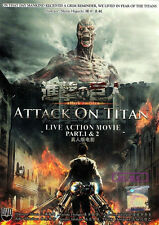 DVD Attack On Titan Live Action Movie Part 1 & 2 Complete + FREE 1 ANIME