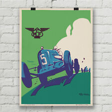 Vintage Car Racing Poster by Geo Ham Canvas Art Print Wall Decor