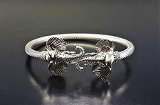 Tribal Artisan Sterling Silver 925 Bangle Open Cuff Elephant Jewelry Bracelet