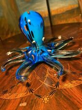 Vintage Murano Art Glass Blue Octopus Figurine/Paperweight Marbled