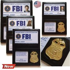 Props FBI Badge PU Leather Card Holder Costume with ID Card Metal Badge Blank ID