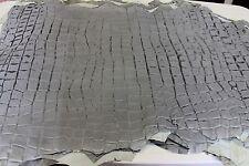 Italian Lambskin leather skins NABUCK GREY DISTRESSED CROCODILE EMBOSSED 7sqf