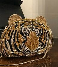 NATASHA Crystal Tiger Clutch Handbag NEW in Box Minaudière