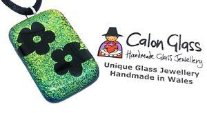 Flower Pendant, Dichroic Glass Pendant, Handmade Glass Pendant, 3cm x 2cm