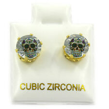 Mens Gold 7mm Round Surgical Steel Clear CZ Hip Hop Sugar Skull Stud Earrings