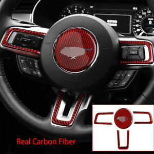 Fit For Ford Mustang 2015-2019 Red Carbon Fiber Steering Wheel Button Cover 4PCS