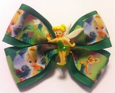 "Girls Hair Bow 4"" Wide Tinkerbell Green Yellow Grosgrain Ribbon French Barrette"