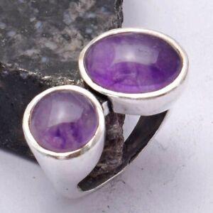Amethyst Ethnic Handmade Ring Jewelry US Size-7.25 AR 40298