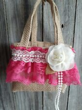 Burlap and lace flower Girl Basket, Rustic, hippie, boho, hot pink, ivory