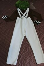 ( G1) UMPA LUMPA FACTORY WORKER COSTUME FANCY DRESS & WIG  XL  10- 11 Years