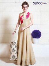 Indian Stylish Designer Bollywood Cream Party Gown Anarkali Salwar Suit Women