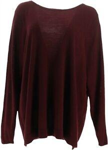 Martha Stewart Merino Wool Blend Long Slv Sweater Chianti S NEW A342939