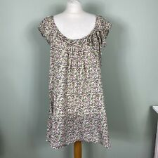 Nomads Fair Trade Clothing Cotton Pink Green Ditsy Floral Smock Dress Size S/M